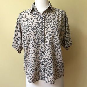 Vintage 80's Pioko Leopard Print Button Down Shirt